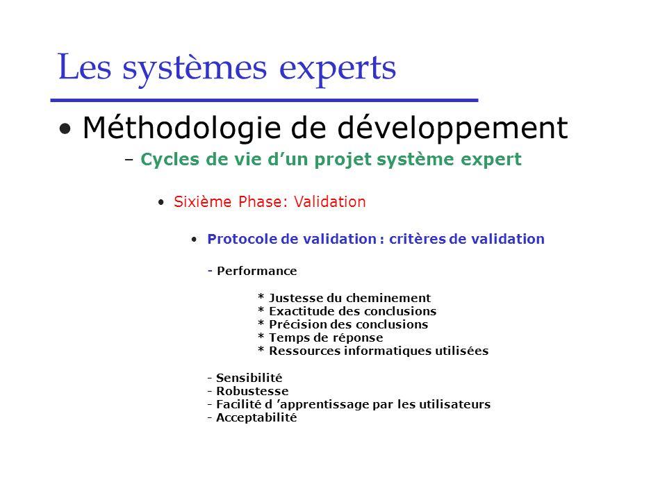 Les systèmes experts Méthodologie de développement –Cycles de vie dun projet système expert Sixième Phase: Validation Protocole de validation : critèr