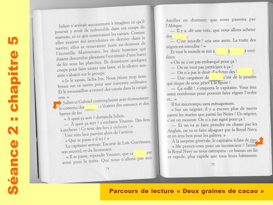 Parcours de lecture « Deux graines de cacao » Séance 2 : chapitre 5 Lecture par le maître du début du chapitre jusque page 73 Travail en groupes : le