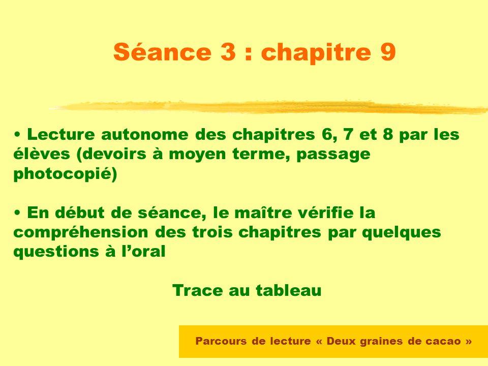 Parcours de lecture « Deux graines de cacao » Séance 2 : chapitre 5 Le maître note au tableau les propositions des élèves Lecture silencieuse à partir