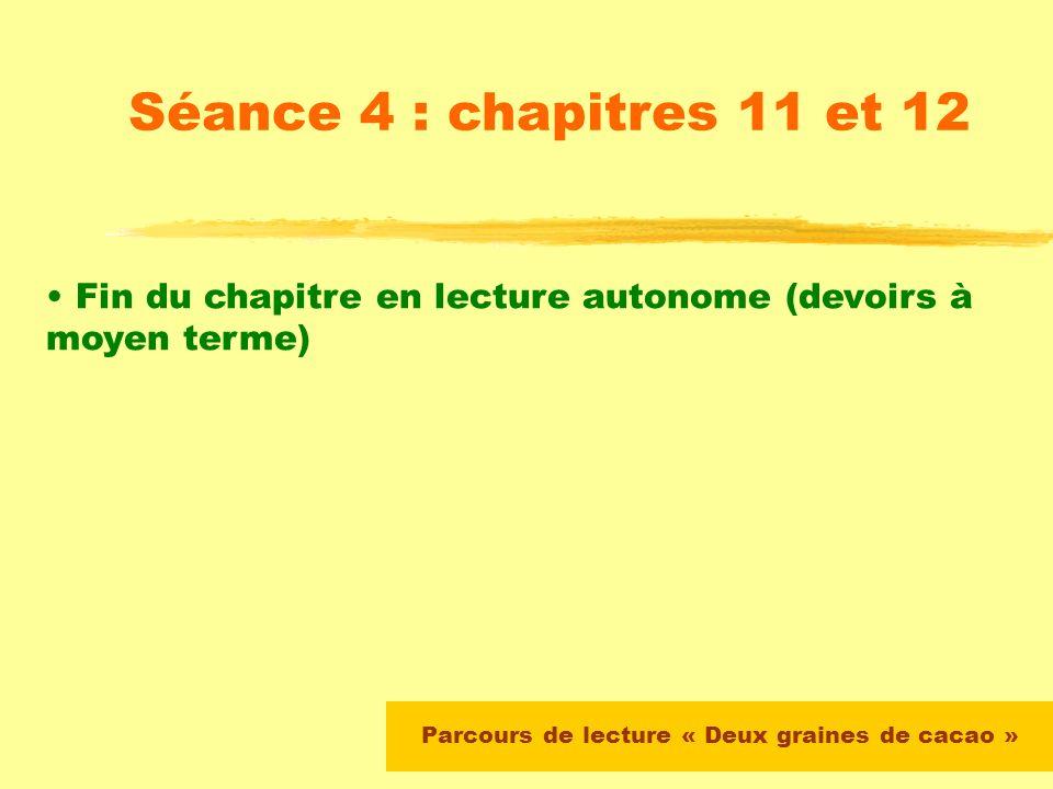 Parcours de lecture « Deux graines de cacao » Séance 4 : chapitres 11 et 12 Les chapitres 11 et 12 sont travaillés sous la forme dune lecture « puzzle