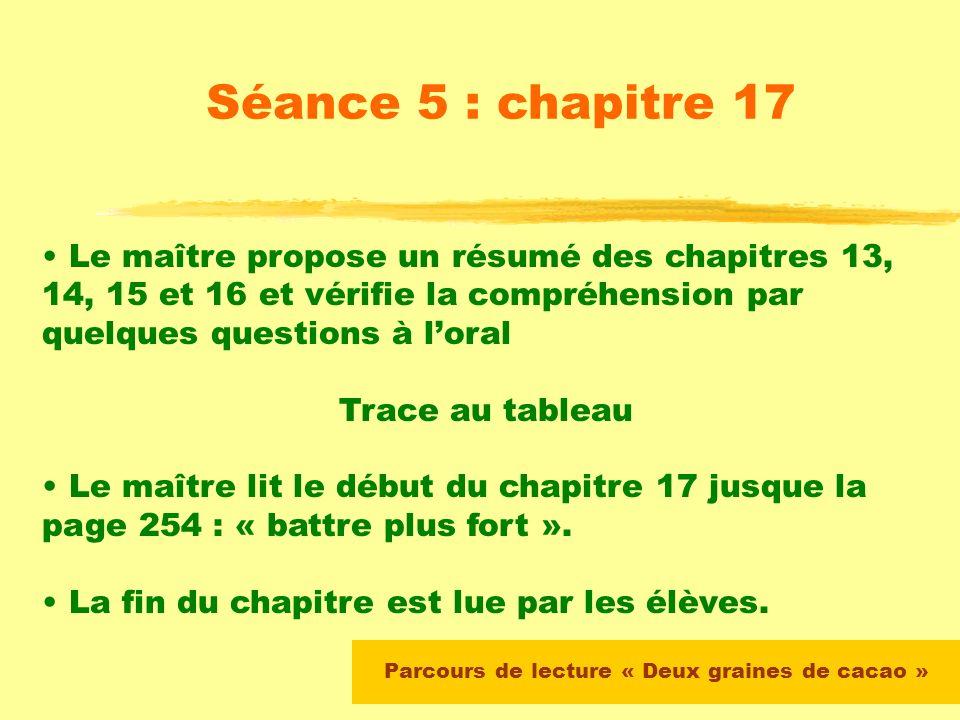Parcours de lecture « Deux graines de cacao » Séance 4 : chapitres 11 et 12 Fin du chapitre en lecture autonome (devoirs à moyen terme)