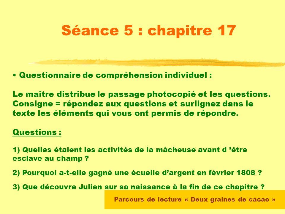 Parcours de lecture « Deux graines de cacao » Séance 5 : chapitre 17 Le maître propose un résumé des chapitres 13, 14, 15 et 16 et vérifie la compréhe