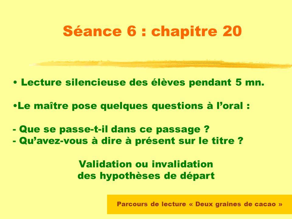Parcours de lecture « Deux graines de cacao » Séance 6 : chapitre 20 Le maître propose un résumé du chapitre 19 et vérifie la compréhension par quelqu