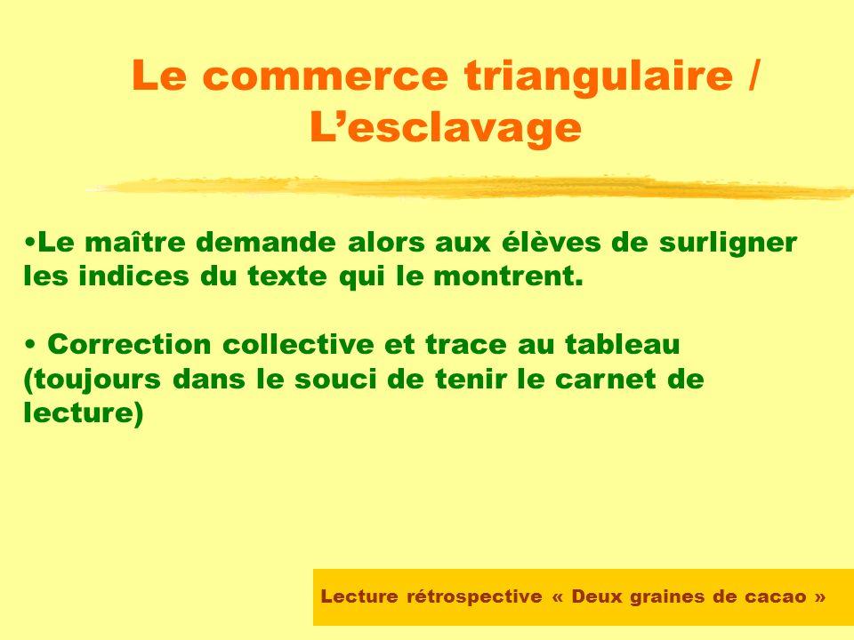 Lecture rétrospective « Deux graines de cacao » Le commerce triangulaire / Lesclavage SEANCE 1 Le maître demande aux élèves de relire un passage du li