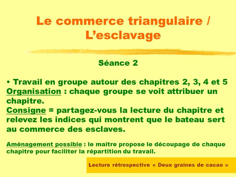 Lecture rétrospective « Deux graines de cacao » Le commerce triangulaire / Lesclavage Le maître demande alors aux élèves de surligner les indices du t