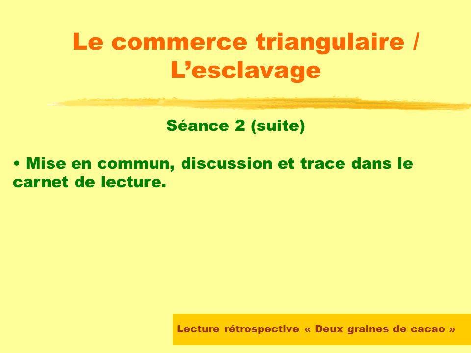 Lecture rétrospective « Deux graines de cacao » Le commerce triangulaire / Lesclavage Séance 2 Travail en groupe autour des chapitres 2, 3, 4 et 5 Org