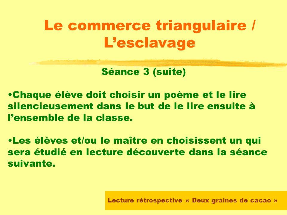 Lecture rétrospective « Deux graines de cacao » Le commerce triangulaire / Lesclavage Séance 3 Le maître propose aux élèves une sélection de poèmes su