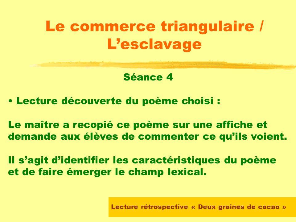 Lecture rétrospective « Deux graines de cacao » Le commerce triangulaire / Lesclavage Séance 3 (suite) Chaque élève doit choisir un poème et le lire s