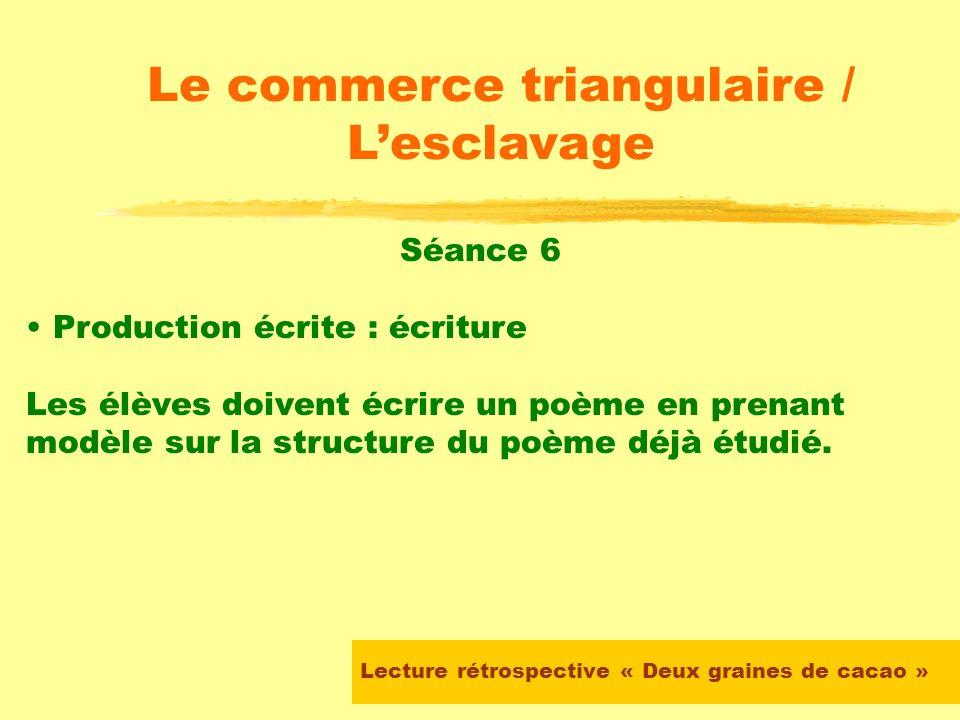 Lecture rétrospective « Deux graines de cacao » Le commerce triangulaire / Lesclavage Séance 4 Lecture découverte du poème choisi : Le maître a recopi