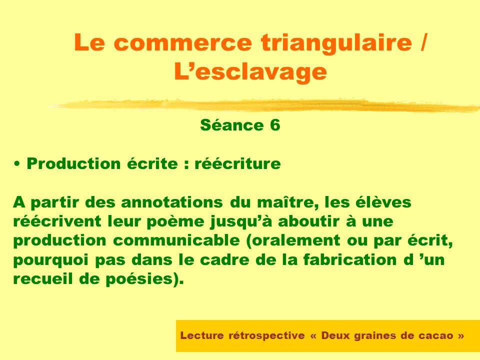Lecture rétrospective « Deux graines de cacao » Le commerce triangulaire / Lesclavage Séance 6 Production écrite : écriture Les élèves doivent écrire