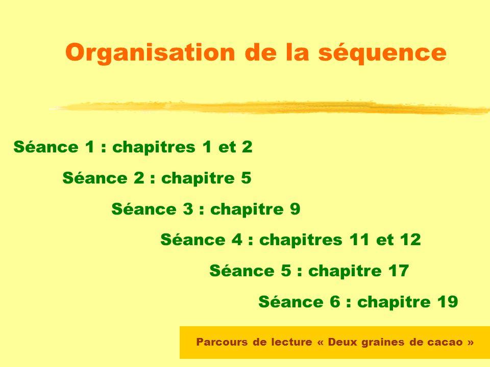 Parcours de lecture « Deux graines de cacao » Chapitres étudiés en classe avec les élèves Chapitres 1 - 2 - 5 - 9 - 11 - 12 - 17 - 20 Les autres chapi