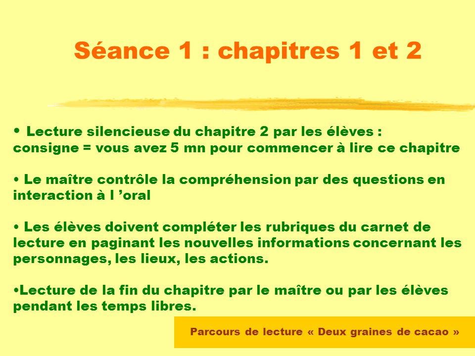Lecture du chapitre 1 par le maître Mise en place collective du carnet de lecture On demande aux élèves de relever : - les personnages - le lieu - lép