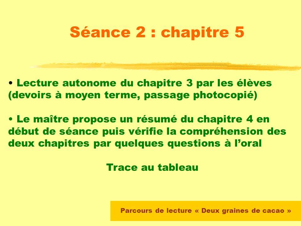 Parcours de lecture « Deux graines de cacao » Séance 1 : chapitres 1 et 2 Lecture silencieuse du chapitre 2 par les élèves : consigne = vous avez 5 mn