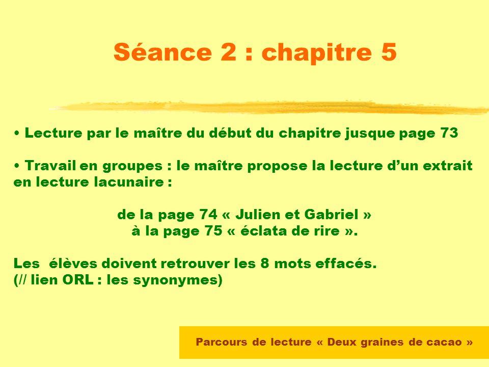 Parcours de lecture « Deux graines de cacao » Séance 2 : chapitre 5 Lecture autonome du chapitre 3 par les élèves (devoirs à moyen terme, passage phot
