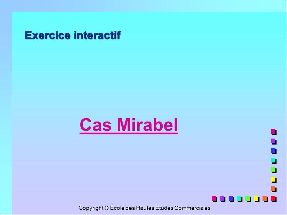 Copyright École des Hautes Études Commerciales Exercice interactif Cas Mirabel