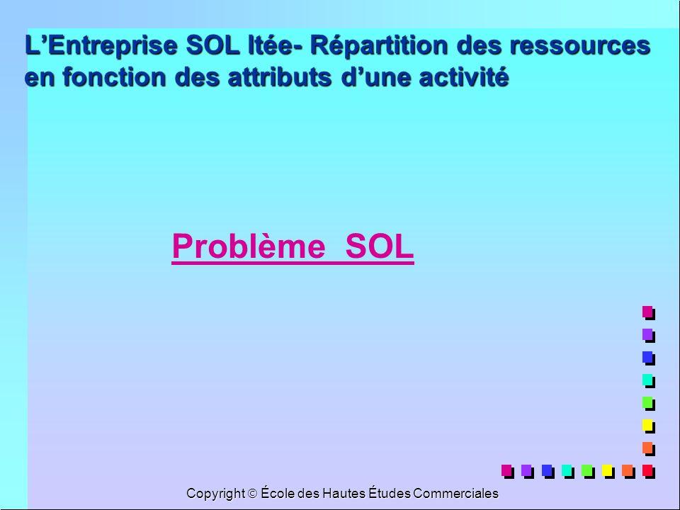 Copyright École des Hautes Études Commerciales LEntreprise SOL ltée- Répartition des ressources en fonction des attributs dune activité Problème SOL