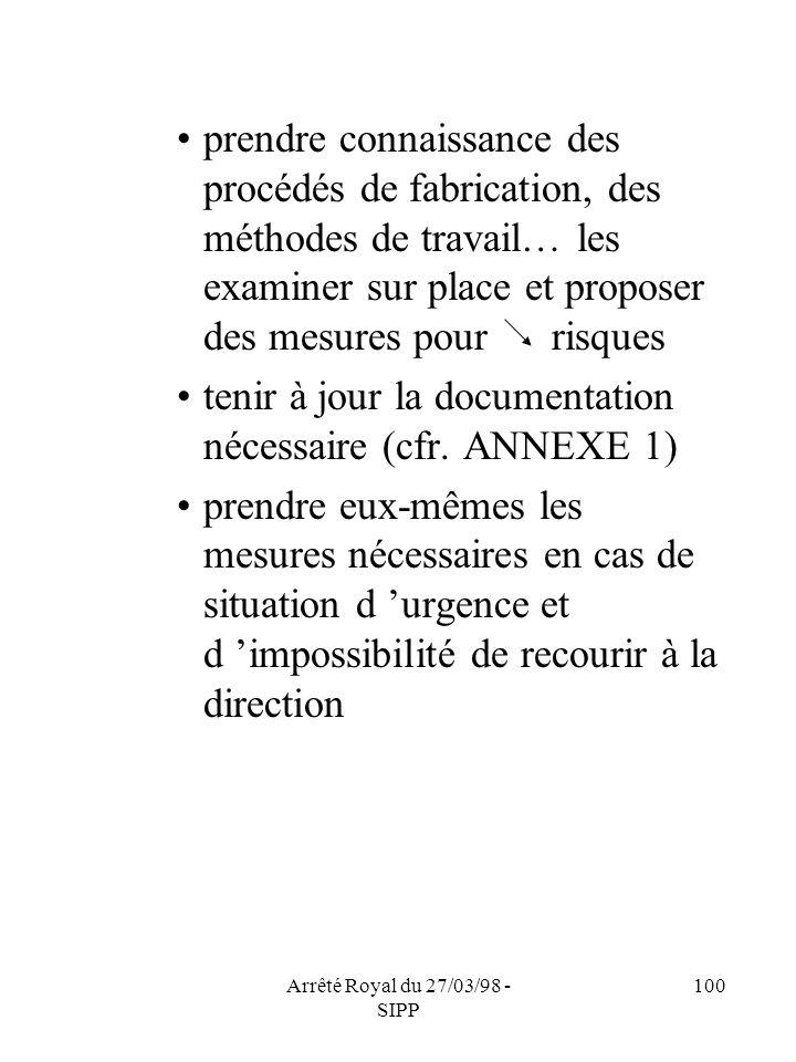 Arrêté Royal du 27/03/98 - SIPP 100 prendre connaissance des procédés de fabrication, des méthodes de travail… les examiner sur place et proposer des