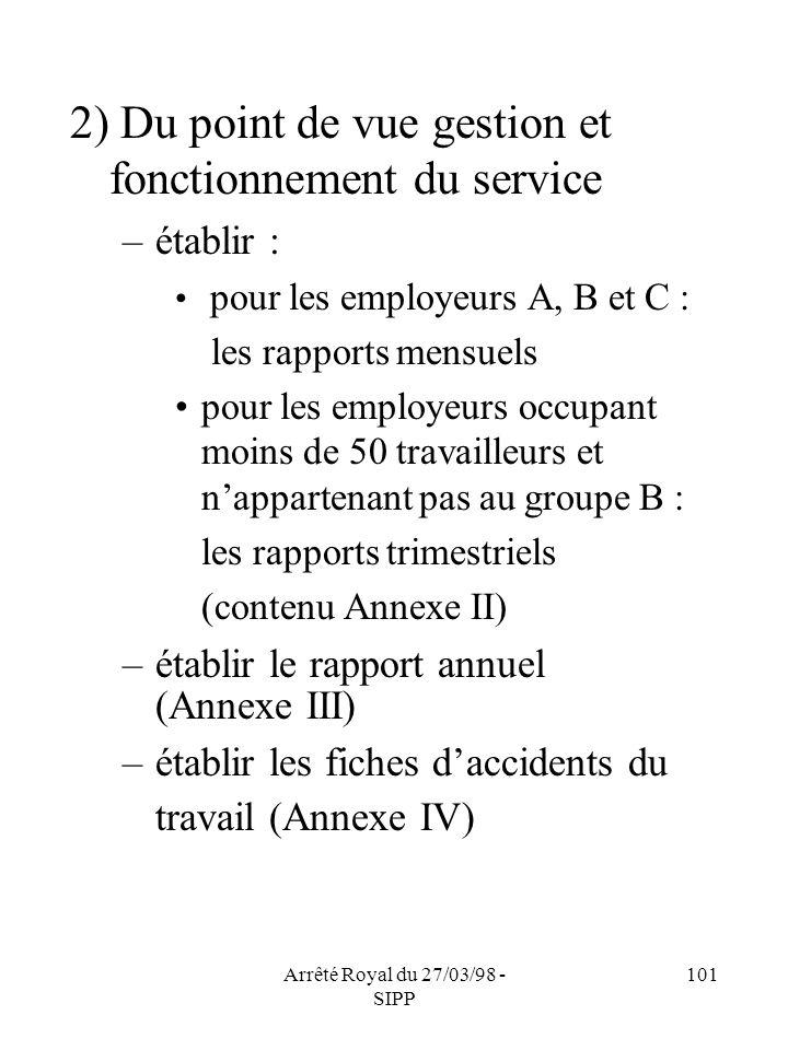 Arrêté Royal du 27/03/98 - SIPP 101 2) Du point de vue gestion et fonctionnement du service –établir : pour les employeurs A, B et C : les rapports me
