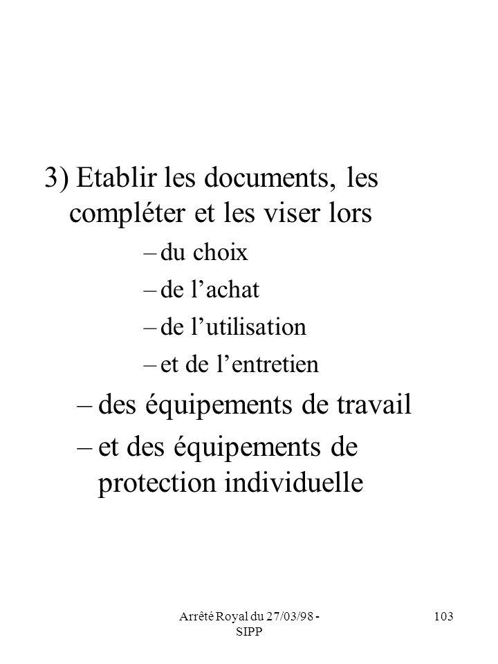 Arrêté Royal du 27/03/98 - SIPP 103 3) Etablir les documents, les compléter et les viser lors –du choix –de lachat –de lutilisation –et de lentretien