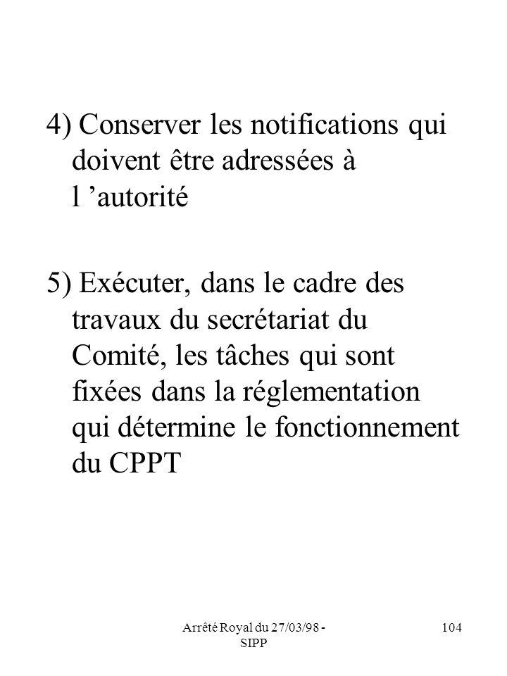 Arrêté Royal du 27/03/98 - SIPP 104 4) Conserver les notifications qui doivent être adressées à l autorité 5) Exécuter, dans le cadre des travaux du s