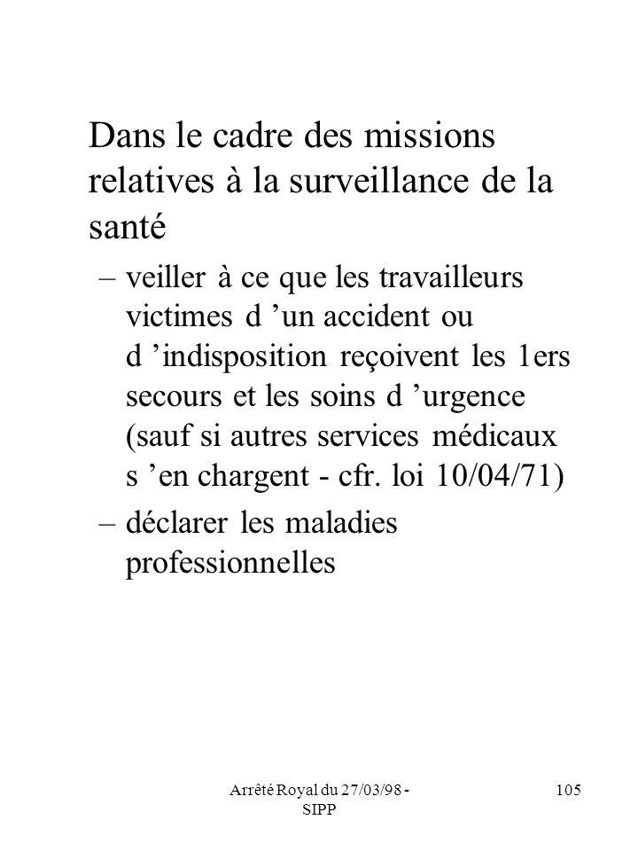 Arrêté Royal du 27/03/98 - SIPP 105 Dans le cadre des missions relatives à la surveillance de la santé –veiller à ce que les travailleurs victimes d u