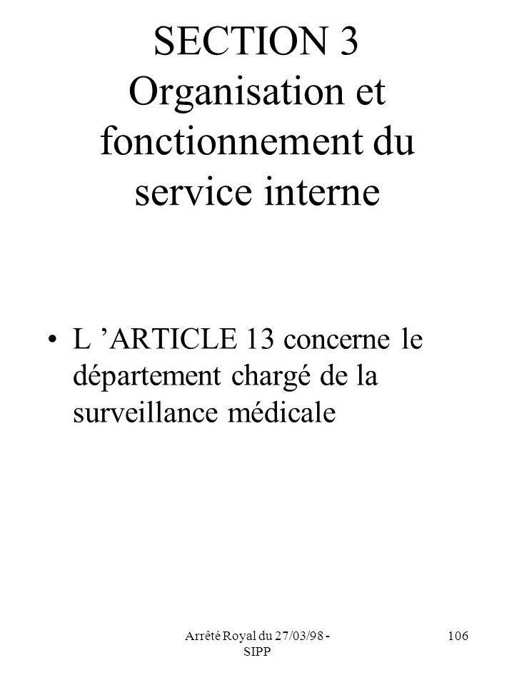 Arrêté Royal du 27/03/98 - SIPP 106 SECTION 3 Organisation et fonctionnement du service interne L ARTICLE 13 concerne le département chargé de la surv