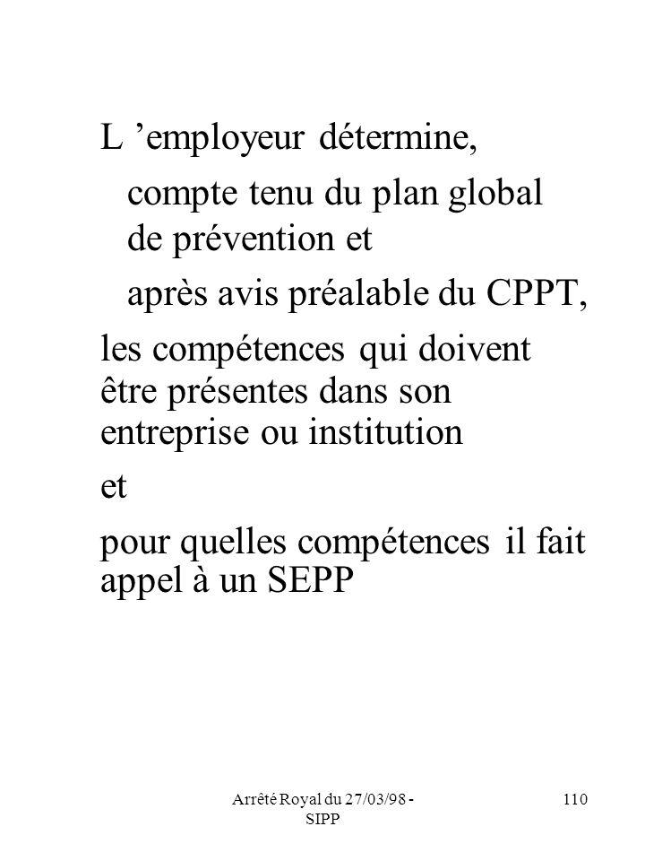 Arrêté Royal du 27/03/98 - SIPP 110 L employeur détermine, compte tenu du plan global de prévention et après avis préalable du CPPT, les compétences q