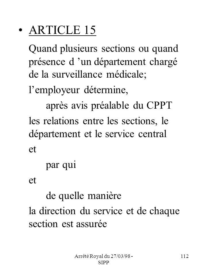 Arrêté Royal du 27/03/98 - SIPP 112 ARTICLE 15 Quand plusieurs sections ou quand présence d un département chargé de la surveillance médicale; lemploy