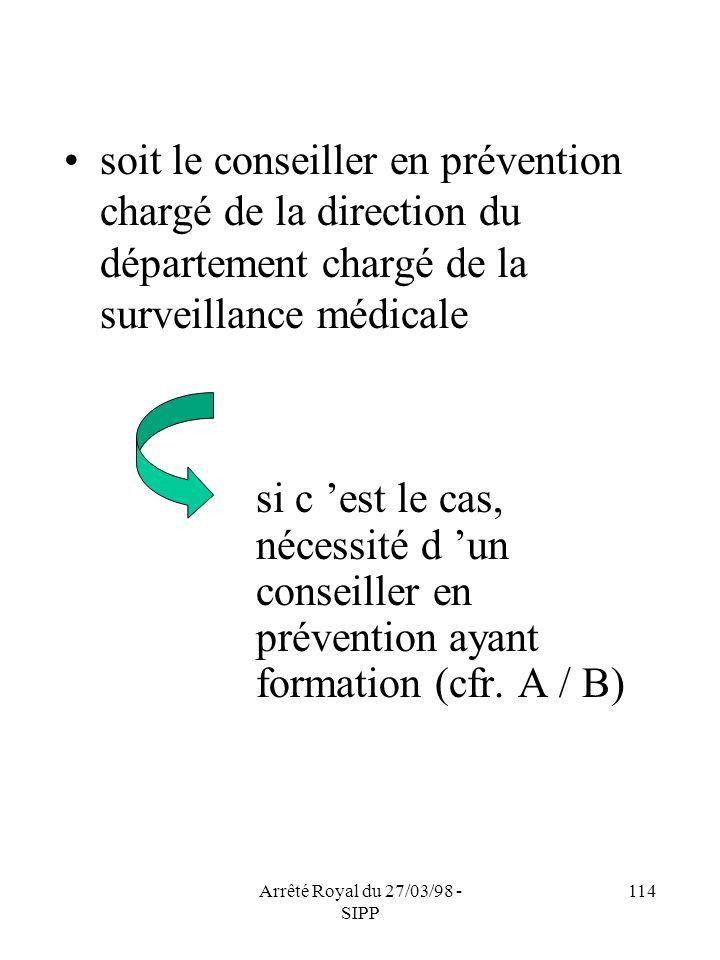 Arrêté Royal du 27/03/98 - SIPP 114 soit le conseiller en prévention chargé de la direction du département chargé de la surveillance médicale si c est
