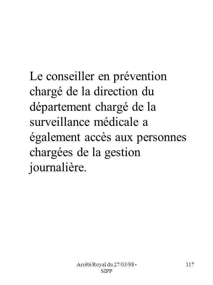 Arrêté Royal du 27/03/98 - SIPP 117 Le conseiller en prévention chargé de la direction du département chargé de la surveillance médicale a également a