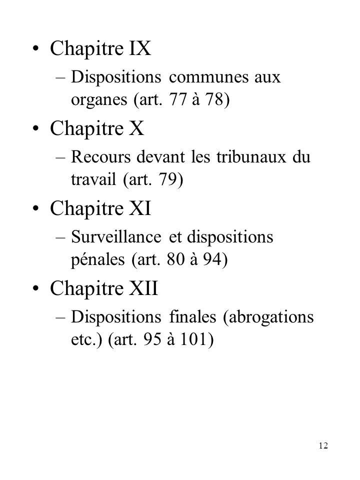 12 Chapitre IX –Dispositions communes aux organes (art. 77 à 78) Chapitre X –Recours devant les tribunaux du travail (art. 79) Chapitre XI –Surveillan