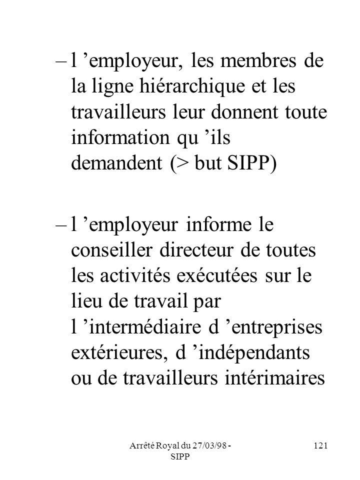 Arrêté Royal du 27/03/98 - SIPP 121 –l employeur, les membres de la ligne hiérarchique et les travailleurs leur donnent toute information qu ils deman