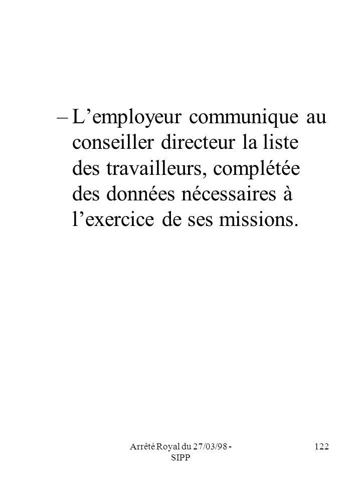 Arrêté Royal du 27/03/98 - SIPP 122 –Lemployeur communique au conseiller directeur la liste des travailleurs, complétée des données nécessaires à lexe