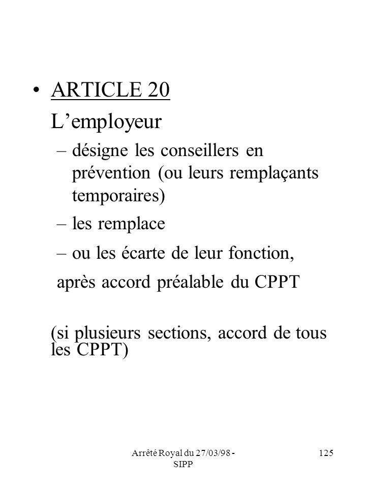 Arrêté Royal du 27/03/98 - SIPP 125 ARTICLE 20 Lemployeur –désigne les conseillers en prévention (ou leurs remplaçants temporaires) –les remplace –ou