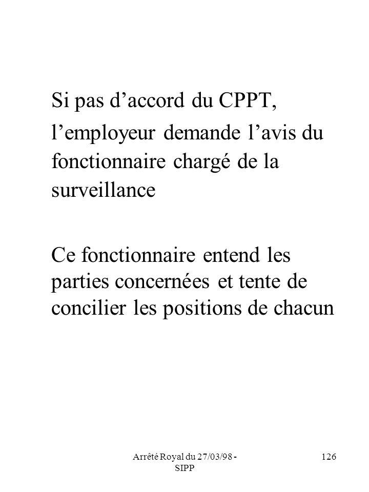 Arrêté Royal du 27/03/98 - SIPP 126 Si pas daccord du CPPT, lemployeur demande lavis du fonctionnaire chargé de la surveillance Ce fonctionnaire enten