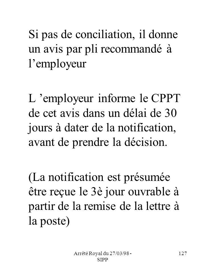 Arrêté Royal du 27/03/98 - SIPP 127 Si pas de conciliation, il donne un avis par pli recommandé à lemployeur L employeur informe le CPPT de cet avis d