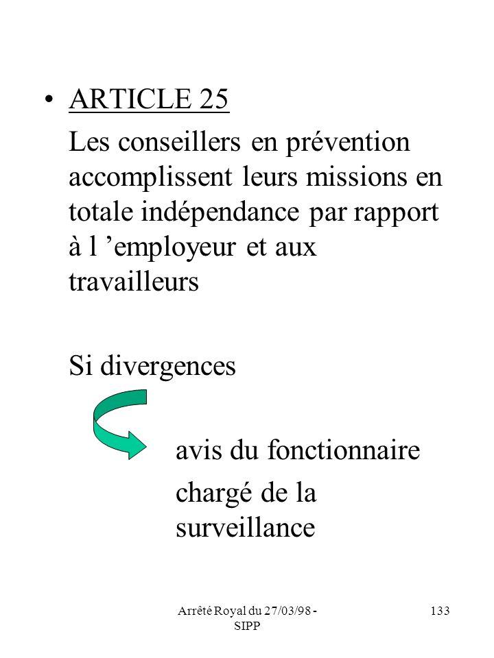 Arrêté Royal du 27/03/98 - SIPP 133 ARTICLE 25 Les conseillers en prévention accomplissent leurs missions en totale indépendance par rapport à l emplo