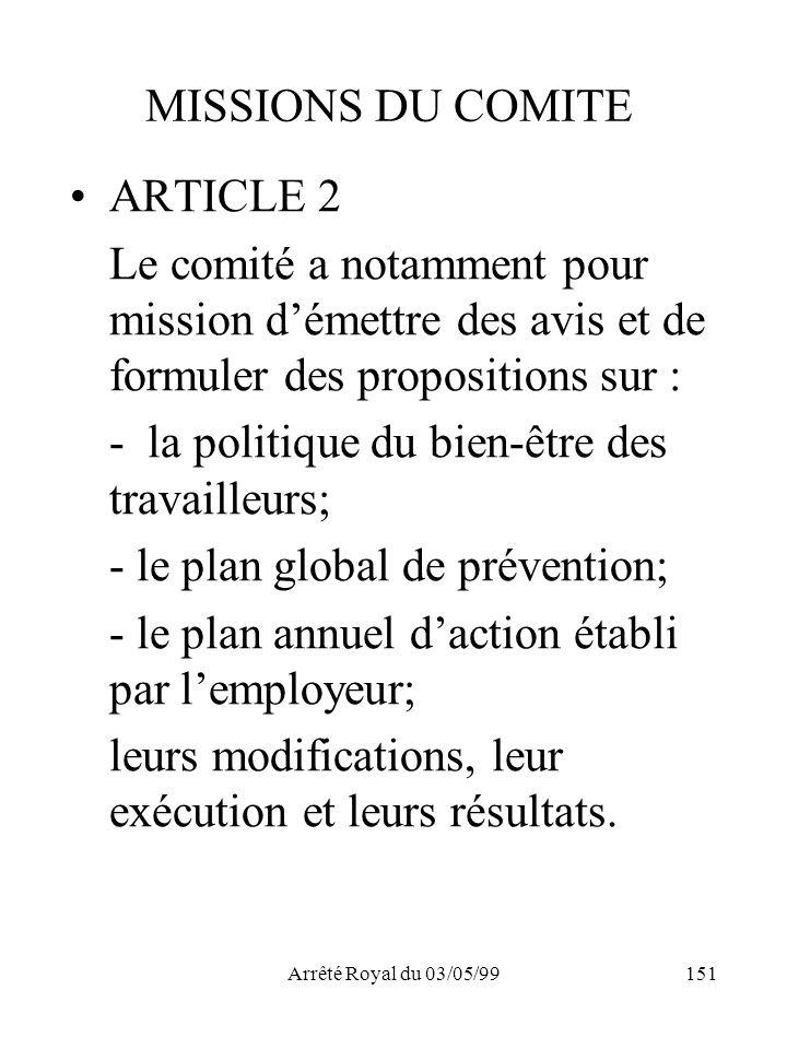 Arrêté Royal du 03/05/99151 MISSIONS DU COMITE ARTICLE 2 Le comité a notamment pour mission démettre des avis et de formuler des propositions sur : -