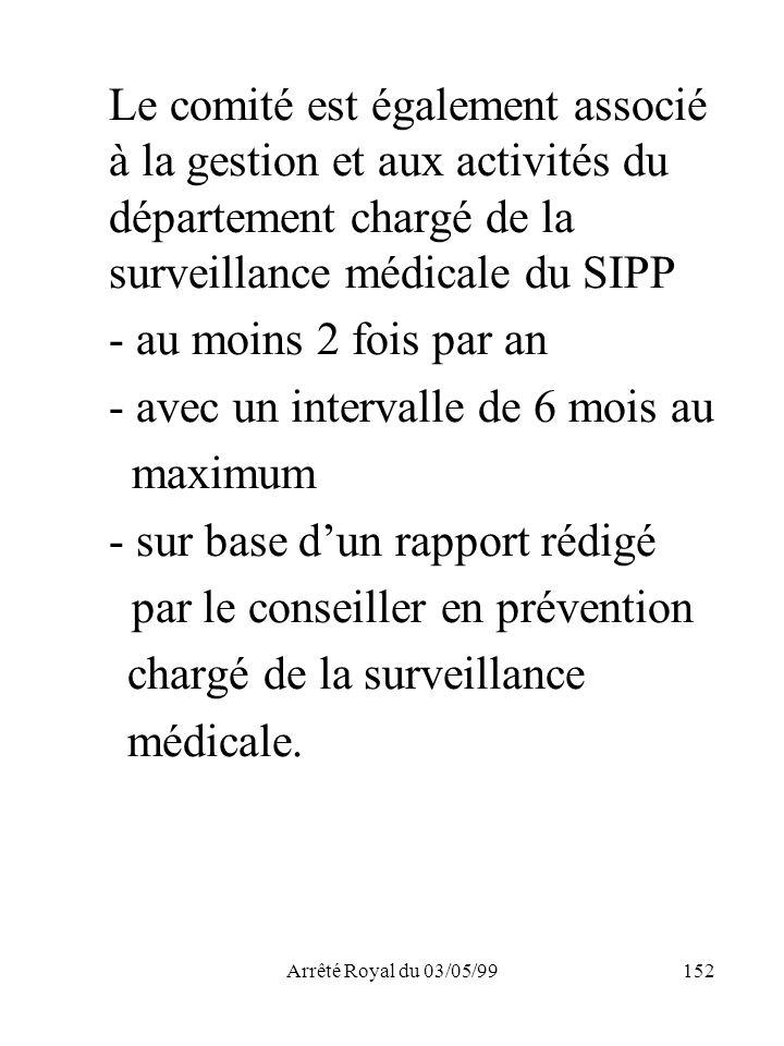 Arrêté Royal du 03/05/99152 Le comité est également associé à la gestion et aux activités du département chargé de la surveillance médicale du SIPP -