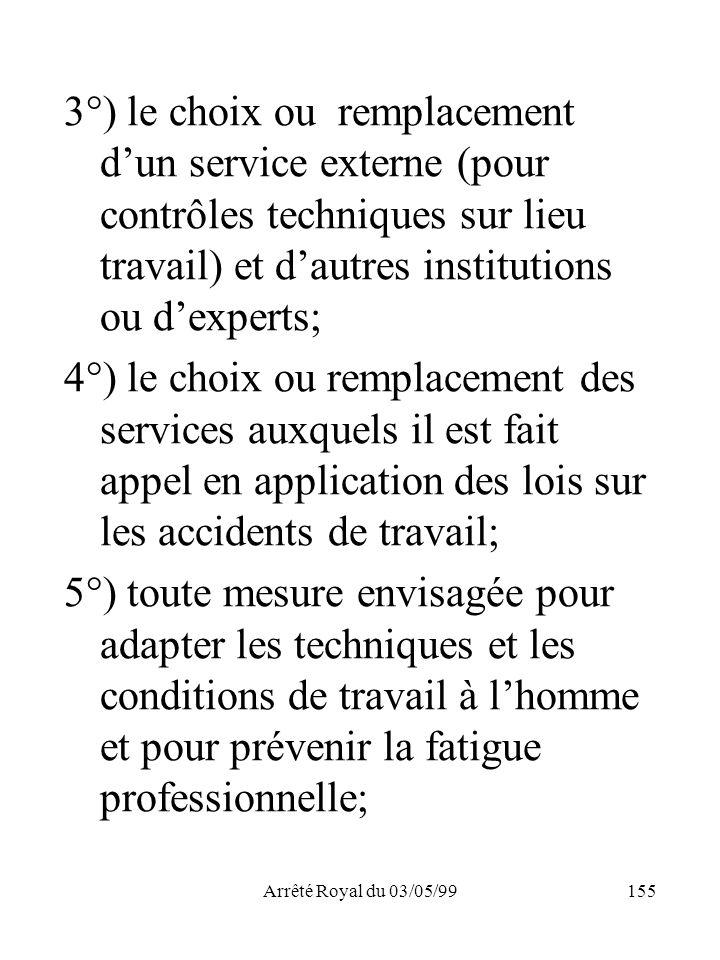 Arrêté Royal du 03/05/99155 3°) le choix ou remplacement dun service externe (pour contrôles techniques sur lieu travail) et dautres institutions ou d