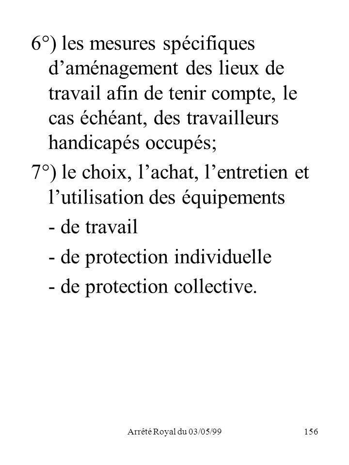 Arrêté Royal du 03/05/99156 6°) les mesures spécifiques daménagement des lieux de travail afin de tenir compte, le cas échéant, des travailleurs handi