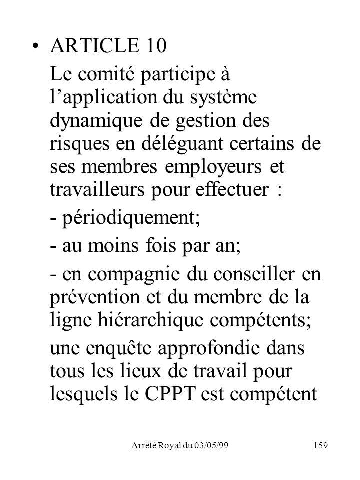 Arrêté Royal du 03/05/99159 ARTICLE 10 Le comité participe à lapplication du système dynamique de gestion des risques en déléguant certains de ses mem