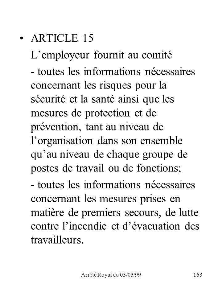 Arrêté Royal du 03/05/99163 ARTICLE 15 Lemployeur fournit au comité - toutes les informations nécessaires concernant les risques pour la sécurité et l