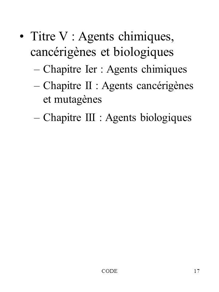 CODE17 Titre V : Agents chimiques, cancérigènes et biologiques –Chapitre Ier : Agents chimiques –Chapitre II : Agents cancérigènes et mutagènes –Chapi