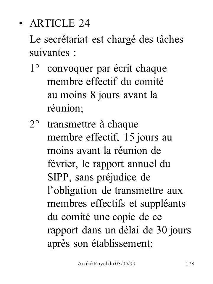 Arrêté Royal du 03/05/99173 ARTICLE 24 Le secrétariat est chargé des tâches suivantes : 1°convoquer par écrit chaque membre effectif du comité au moin