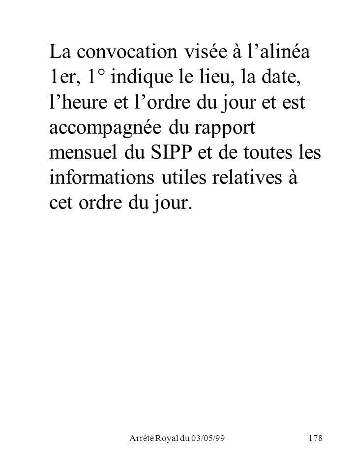 Arrêté Royal du 03/05/99178 La convocation visée à lalinéa 1er, 1° indique le lieu, la date, lheure et lordre du jour et est accompagnée du rapport me