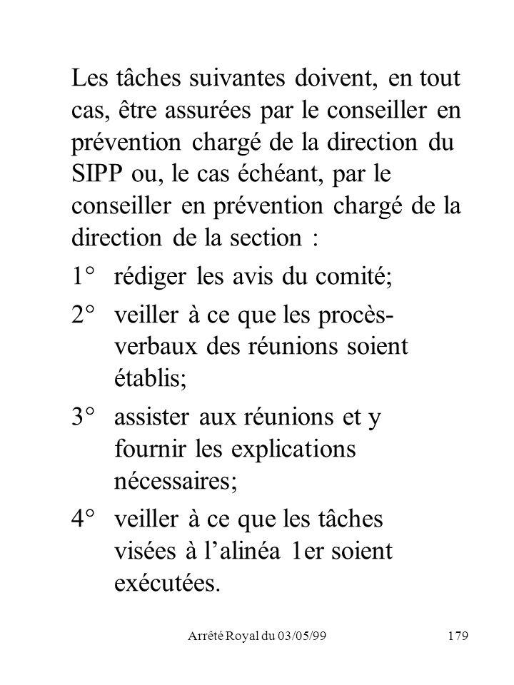 Arrêté Royal du 03/05/99179 Les tâches suivantes doivent, en tout cas, être assurées par le conseiller en prévention chargé de la direction du SIPP ou
