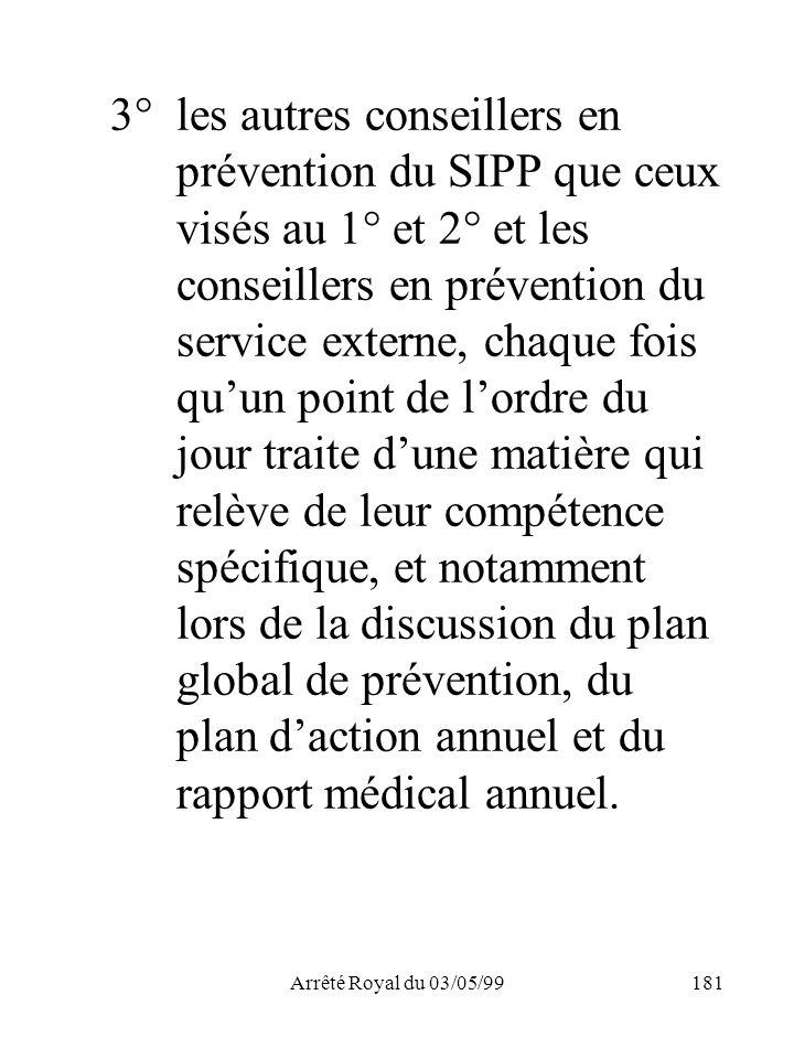 Arrêté Royal du 03/05/99181 3°les autres conseillers en prévention du SIPP que ceux visés au 1° et 2° et les conseillers en prévention du service exte