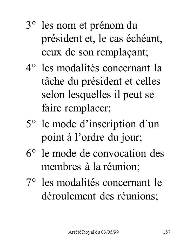 Arrêté Royal du 03/05/99187 3° les nom et prénom du président et, le cas échéant, ceux de son remplaçant; 4°les modalités concernant la tâche du prési