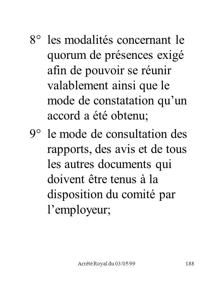 Arrêté Royal du 03/05/99188 8°les modalités concernant le quorum de présences exigé afin de pouvoir se réunir valablement ainsi que le mode de constat